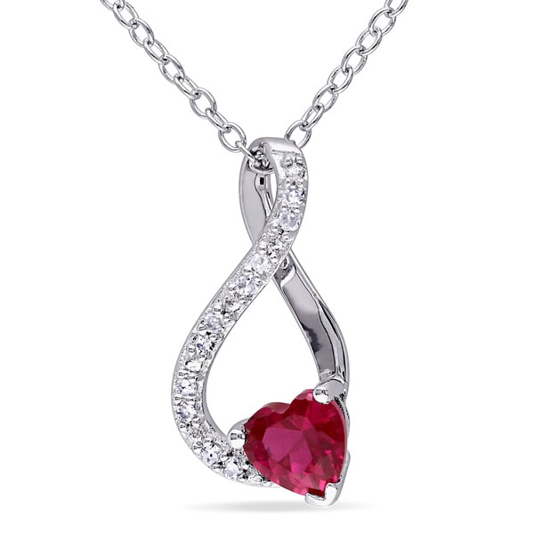 Miadora Sterling Silver Created Ruby and Diamond Accent Infinity Heart Necklace