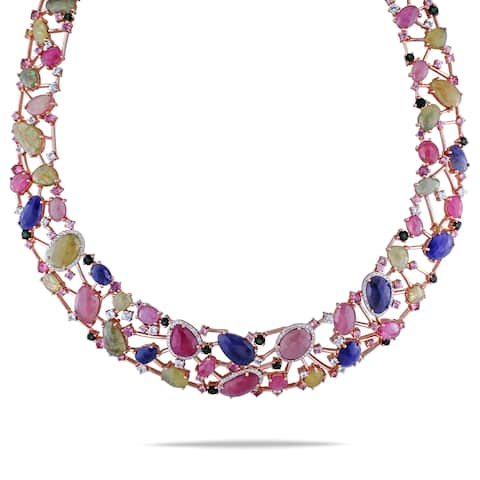 Miadora 14k Rose Gold Sapphire, Tourmaline and 7/8ct TDW Diamond Necklace (G-H, SI1-SI2) - Multi