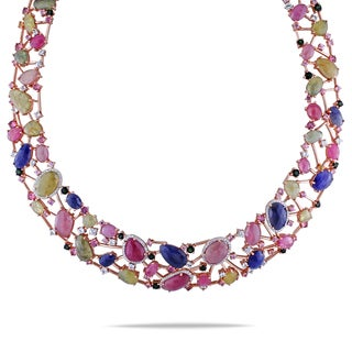 Miadora 14k Rose Gold Sapphire, Tourmaline and 7/8ct TDW Diamond Necklace (G-H, SI1-SI2)