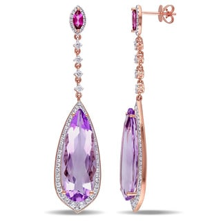 Miadora Signature Collection 14k Rose Gold Pink Amethyst and Pink Topaz and 1 1/2ct TDW Diamond Teardrop Dangle Earrings