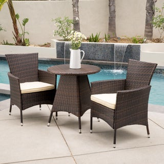 Melissa Outdoor 3-piece Wicker Bistro Set with Cushions by Christopher Knight Home (2 options available)