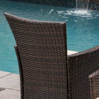 Malta Outdoor Wicker Dining Chair with Cushions (Set of 2) by Christopher Knight Home