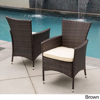 Malta Outdoor Wicker Dining Chair with Cushion by Christopher Knight Home (Set of 2) (2 options available)