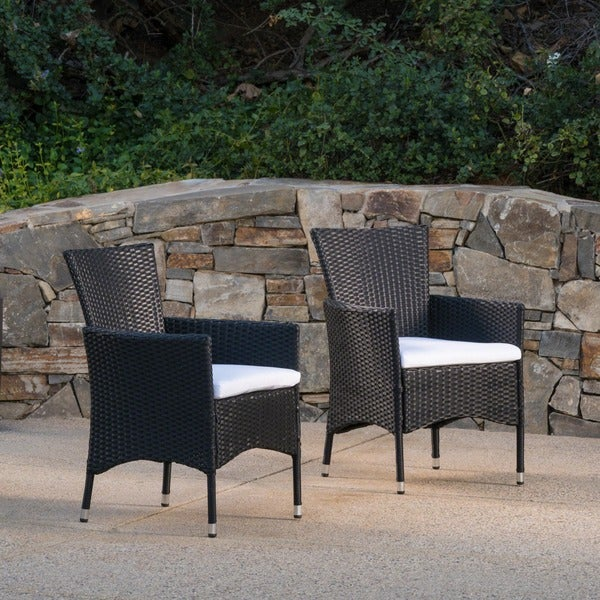 Malta Outdoor Wicker Dining Chair with Cushion by Christopher Knight Home (Set of 2) - Free Shipping Today - Overstock.com - 17298403