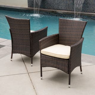 Malta Outdoor Wicker Dining Chair with Cushion by Christopher Knight Home ( Set of 2)