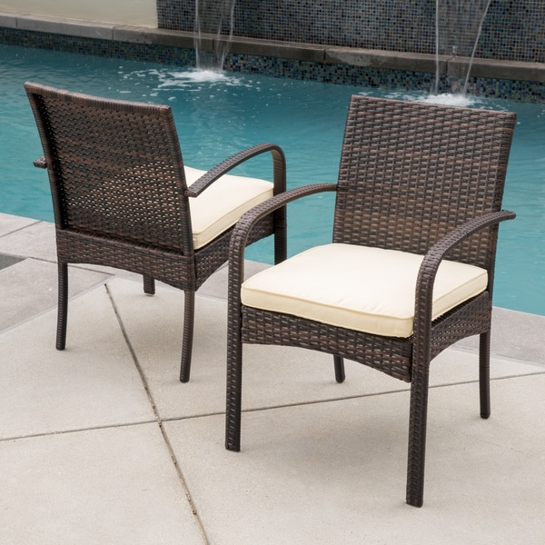 Outdoor Cordoba Wicker Dining Chair with Cushions Set of
