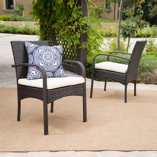 Cordoba Wicker Outdoor Cushioned Dining Chairs (Set of 2) by Christopher Knight Home. Opens flyout.