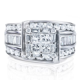 Annello By Kobelli 14k White Gold 2ct TDW Princess Cut Multi Stone Diamond Engagement Ring
