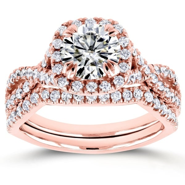 Annello by Kobelli 14k Rose Gold 1 3/4ct TGW Moissanite and Diamond Crossover Bridal Rings Set
