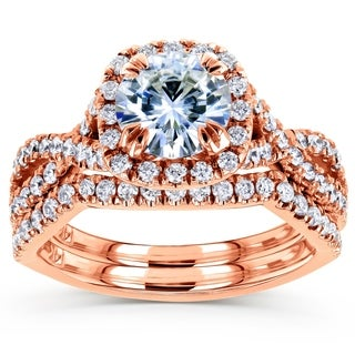 Annello by Kobelli 14k Rose Gold 1 3/4ct TGW Moissanite (HI) and Diamond Crossover Bridal Rings Set