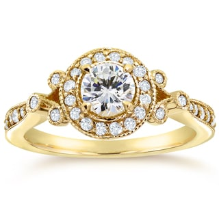 Annello by Kobelli 14k Yellow Gold 4/5ct TDW Round-cut Diamond Antique Halo Engagement Ring