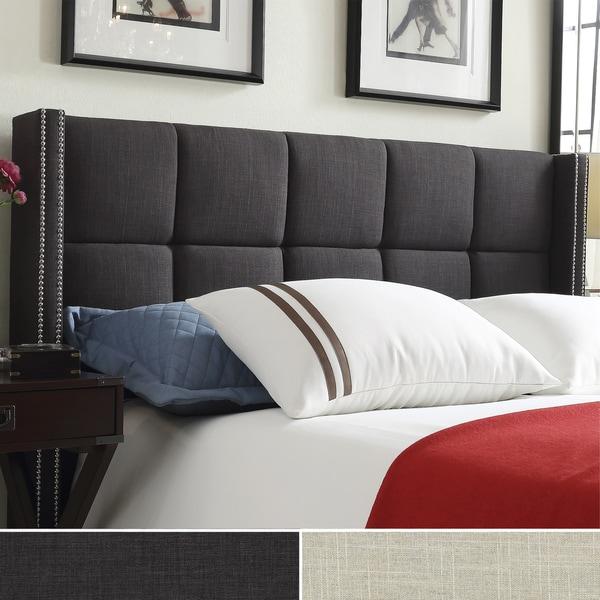 Inspire Q Parker Linen Nailhead Wingback Panel Upholstered