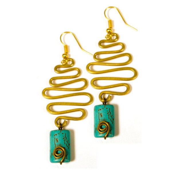 Handmade Gold tone Curve Wire and Turquoise Dangle Earrings India