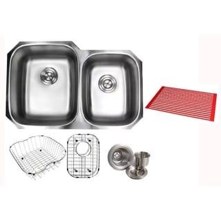 Ariel Pearl Satin 32-inch Premium 16-gauge Stainless Steel Undermount 60/40 Double Bowl Kitchen Sink with Full Accessories Kit