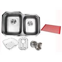 Ariel Pearl Satin 32-inch Premium 16-gauge Stainless Steel Undermount 60/40 Double Bowl Kitchen Sink Accessories Kit
