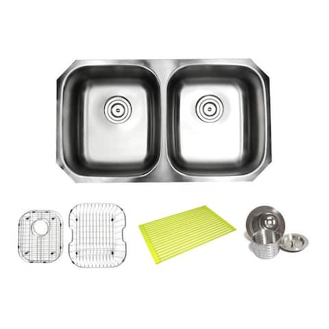 Pearl Satin 32-inch Premium 16-gauge Stainless Steel Undermount 50/50 Double Bowl Kitchen Sink with Full Accessories Kit