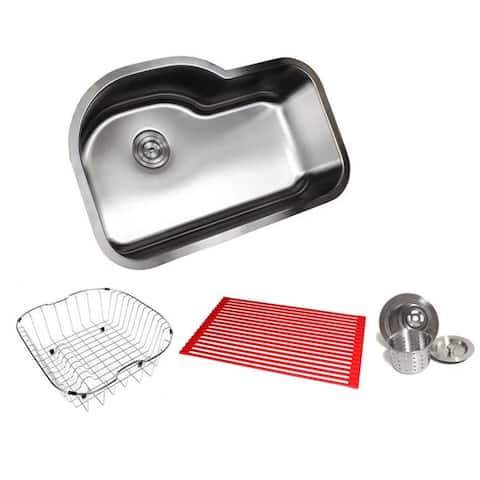 Ariel Pearl Sharp Satin 31.5-inch Premium 16-gauge Stainless Steel Undermount Single Bowl Kitchen Sink Accessories Kit