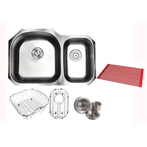 Pearl Satin 32-inch Premium 16-gauge Stainless Steel Undermount 70/30 Offset D-bowl Kitchen Sink Accessories Kit