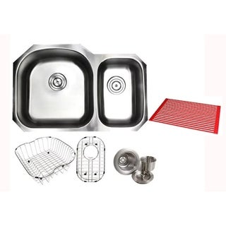 Ariel Pearl Satin 32-inch Premium 16-gauge Stainless Steel Undermount 70/30 Offset D-bowl Kitchen Sink with Full Accessories Kit