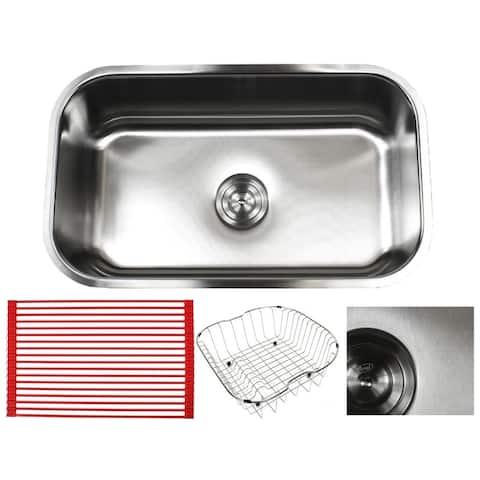 Pearl Sharp Satin 30-inch Premium 16-gauge Stainless Steel Undermount Single Bowl Kitchen Sink Accessories Kit