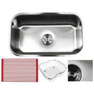 Ariel Pearl Sharp Satin 30-inch Premium 16-gauge Stainless Steel Undermount Single Bowl Kitchen Sink Accessories Kit