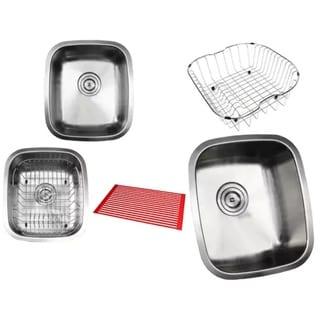 Ariel Pearl Satin 15-inch Premium 18-gauge Stainless Steel Undermount Single Bowl Island/ Bar/ Kitchen Sink Full Accessories