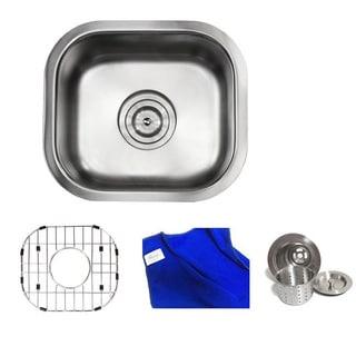 Ariel Pearl Satin 14-inch Premium 18-gauge Stainless Steel Undermount Single Bowl Island/ Bar/ Kitchen Sink Full Accessories