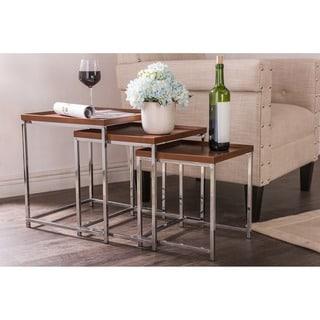 Baxton Studio Adelina 3-piece Wood Top Chrome Base Nesting Table Set