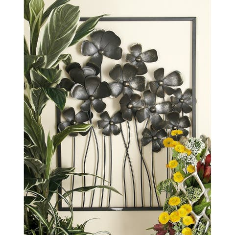 Set of 3 Eclectic 32 Inch Framed Wildflower Wall Decors by Studio 350 - Black