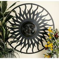 Graceful Metal Outdoor Sun Face Wall Plaque