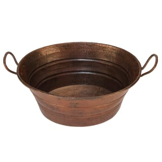 Premier Copper Products Oval Bucket Vessel Hammered Copper Sink with Handles|https://ak1.ostkcdn.com/images/products/10171099/P17298861.jpg?impolicy=medium