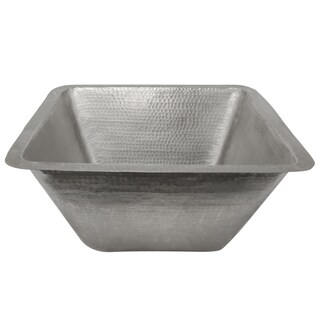 Premier Copper Products 17-inch Large Square Hammered Copper Bar/ Prep Sink in Electroless Nickel