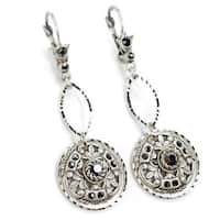 Sweet Romance Hematite Marcasite Modern Medallion Drop Earrings
