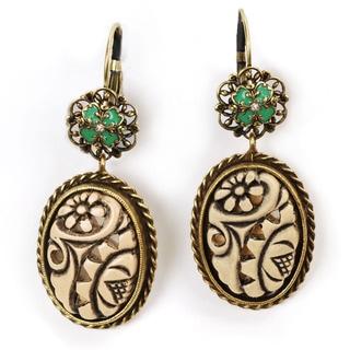 Sweet Romance Ivory Oval Vintage Bronze Earrings
