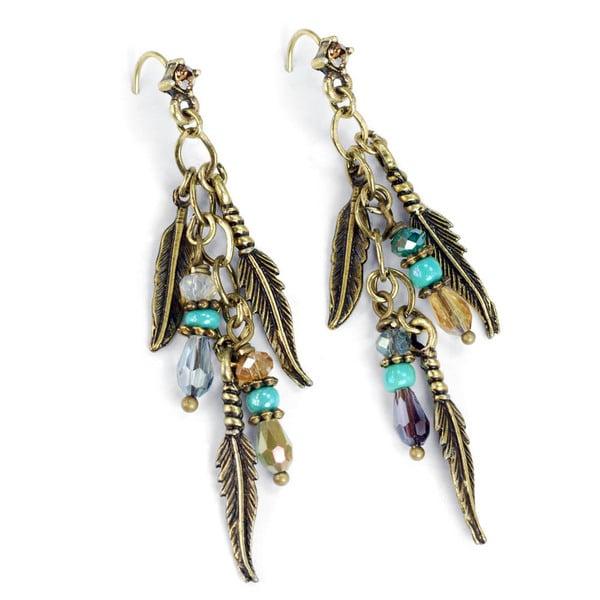 Sweet Romance Beaded Feather Hippie Festival Earrings