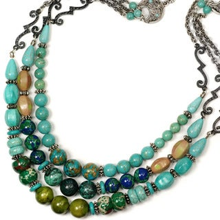 Sweet Romance Turquoise Jasper Silver Southwest Statement Necklace