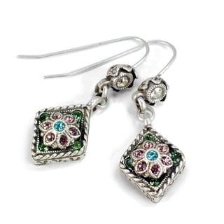 Sweet Romance Silver Blue Diamond Vintage Victorian Earrings