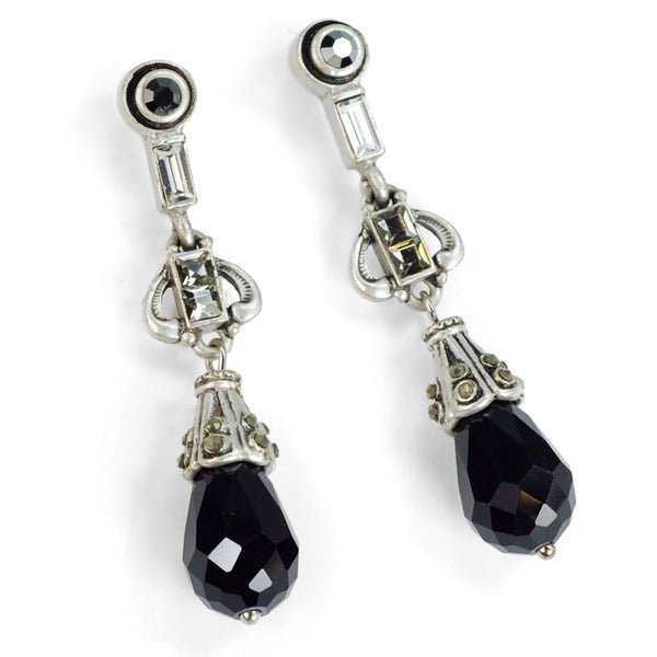 Sweet Romance Art Deco Black and Silver Drop Earrings