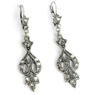 Sweet Romance Art Deco Vintage Arabesque Silver Wedding Earrings (2 options available)