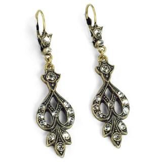 Sweet Romance Art Deco Vintage Arabesque Silver Wedding Earrings (Option: White - Brown)