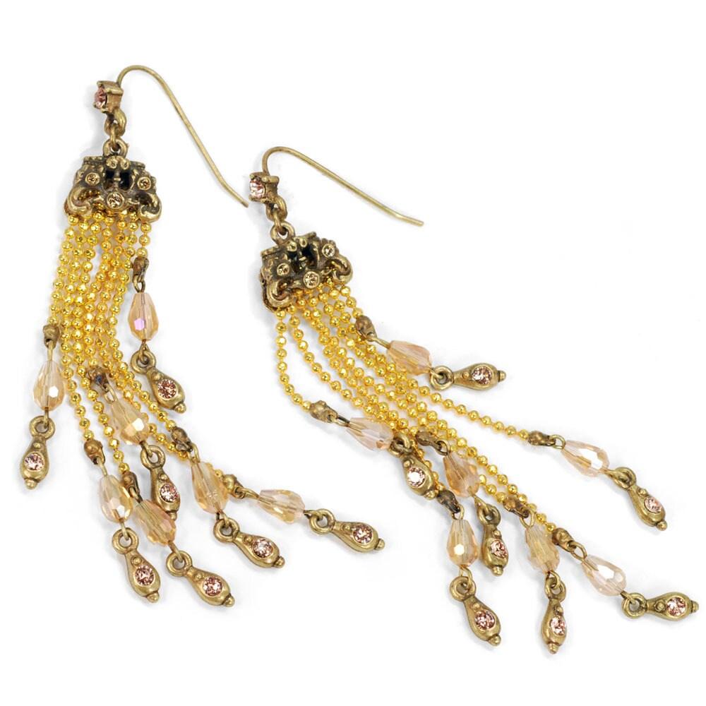 Sweet Romance Beaded Fringe Long Boho Earrings (Brown), W...