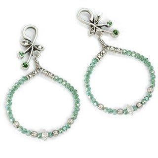 Sweet Romance Beaded Hoop Silver Earrings