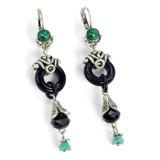 Sweet Romance Deco Jade Glass Asian Silver Earrings