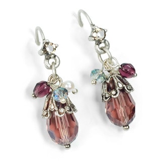Sweet Romance Amethyst Cluster Silver Earrings