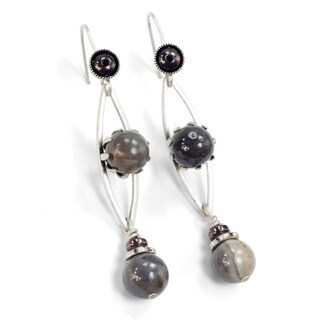 Sweet Romance Gray Agate Modern Silver Earrings