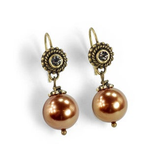 Sweet Romance12mm Pearl And Crystal Earrings