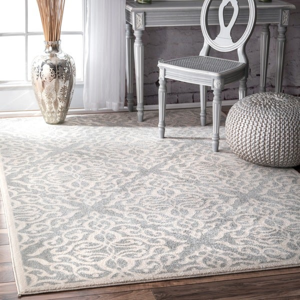 Nuloom Transitional Modern Fancy Silver Area Rug 8 X 10