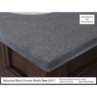 "Providence 72"" Double Vanity Cabinet, Driftwood (Option: 2cm black rustic granite top)"
