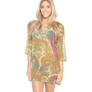 La Leela LIGHTWEIGHT CHIFFON Paisley Beach Swimsuit Kaftan Dress Bikini Cover up L