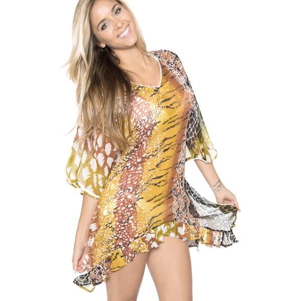 510eabe0f3 La Leela Swimwear SHEER LIGHTWEIGHT CHIFFON Beach Cover up Bikini Dress  Beige